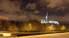 Cathedral in winter Stock Footage