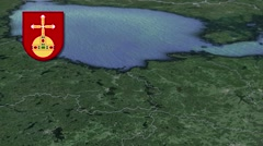 Uppsala with Coat of arms animation map Stock Footage