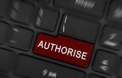 Laptop button - Authorise - stock photo