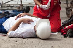Work accident. first aid training. Stock Photos