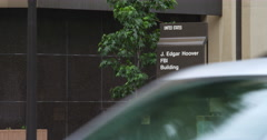 Sign in front of J. Edgar Hoover Building FBI Headquarters, Washington DC. Shot Stock Footage