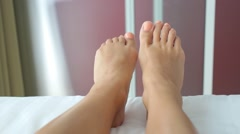 Woman Feet Dancing in Bed. Closeup Stock Footage