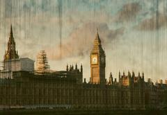 House of Parliament sunset panorama in Westminster in London - vintage postca - stock photo