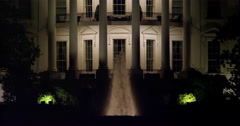 South Portico of the White House at night. Shot in 2012. - stock footage