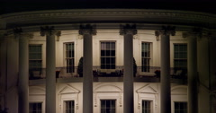 Close-up South Portico of the White House at night, fountain splashing up in - stock footage