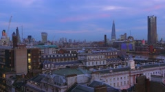 London evening skyline - beautiful rooftop view - stock footage