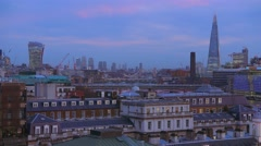 Amazing London skyline - view from a rooftop in the evening - stock footage