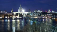 Millennium Bridge and St. Paul's - beautiful time lapse by night Stock Footage