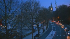London street view from Embankment in the evening - stock footage