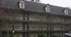 Guest rooms on the second and third floors of an inn in Grants Pass, Oregon Stock Footage