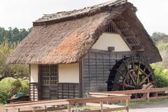 Japanese watermill - stock photo