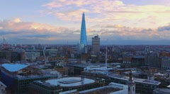 Aerial view over London with the Shard building - stock footage
