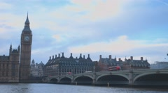 Big Ben and Westminster Bridge London - stock footage