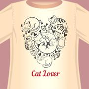 Cat lover T-shirt Stock Illustration