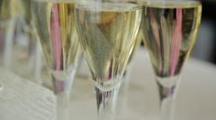 Champagne glasses on a buffet table Stock Footage