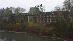Guest rooms at the rear of an inn in Grants Pass, Oregon Stock Footage