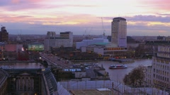 Festival Pier London and River Thames in the evening - stock footage