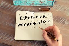 Handwritten text CUSTOMER ACQUISITION - stock photo