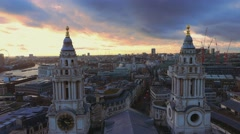 The towers of St.Paul´s cathedral and aerial shot over London - stock footage