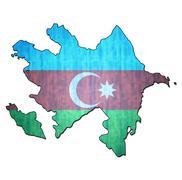 azerbaijan territory with flag - stock illustration