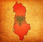 Stock Illustration of albania territory with flag