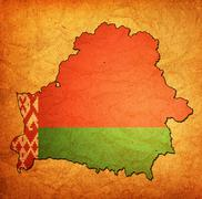 belarus territory with flag - stock illustration