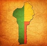 Stock Illustration of benin territory with flag