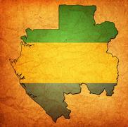 gabon territory with flag - stock illustration