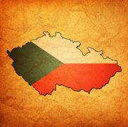 Stock Illustration of czechoslovakia territory with flag