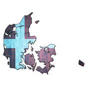 denmark territory with flag - stock illustration