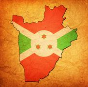 Burundi territory with flag Stock Illustration