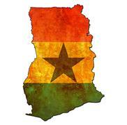 ghana territory with flag - stock illustration