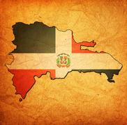 dominican republic territory with flag - stock illustration
