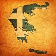 Stock Illustration of greece territory with flag
