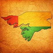 guinea bissau territory with flag - stock illustration