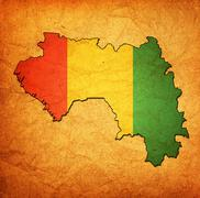 guinea territory with flag - stock illustration
