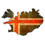 Iceland territory with flag Stock Illustration