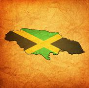 jamaica territory with flag - stock illustration