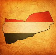 yemen territory with flag - stock illustration
