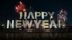 'Happy new year ' in city view,skyscraper, building (included alpha) - stock footage
