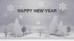 'Happy new year' made from paper works (included alpha) - stock footage