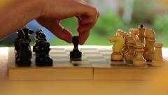 Game of chess, beginning of the game, first step Stock Footage