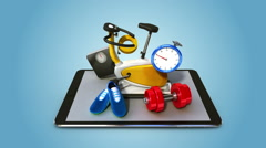 Explain various health care, fitness service for Smart phone. smart pad, mobile Stock Footage