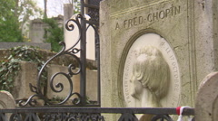 The tombstone of Frederic Chopin´s grave Stock Footage