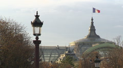 French flag in Paris with iron street lamp - stock footage