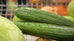 Fresh long cucumbers - stock footage