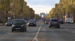 Champs Elysées with Arc de Triomphe Stock Footage