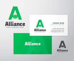 Alliance Abstract Vector Logo and Business Card Template or Mockup - stock illustration