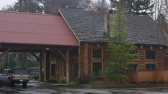 Stock Video Footage of Right pan over a rustic lodge in Grants Pass, Oregon