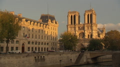 Cathedrale Notre-Dame de Paris in the evening Stock Footage